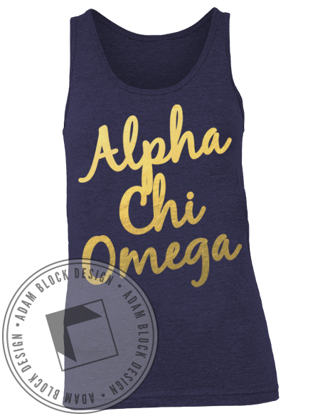Alpha Chi Omega Bid Day Lyre Tank Top-Adam Block Design