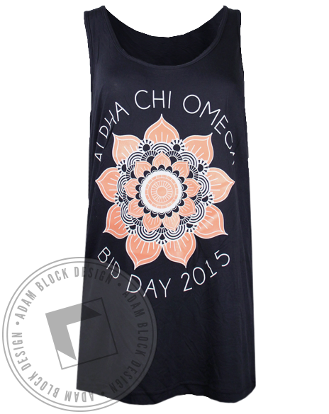 Alpha Chi Omega Bid Day Mandala Tank Top-gallery-Adam Block Design