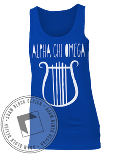 Alpha Chi Omega Blue Lyre Tank Top-Adam Block Design