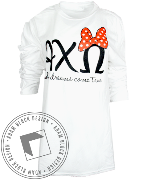 Alpha Chi Omega Bow Long Sleeve-Adam Block Design