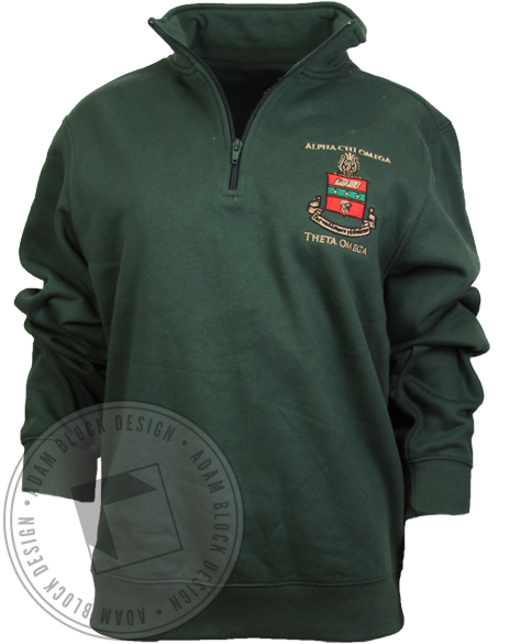 Alpha Chi Omega Crest Green Half Zip-Adam Block Design