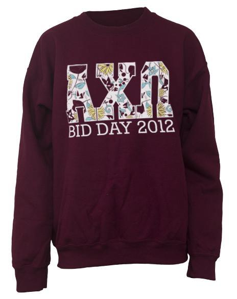 Alpha Chi Omega Floral Bid Day Crew Neck Sweatshirt-Adam Block Design
