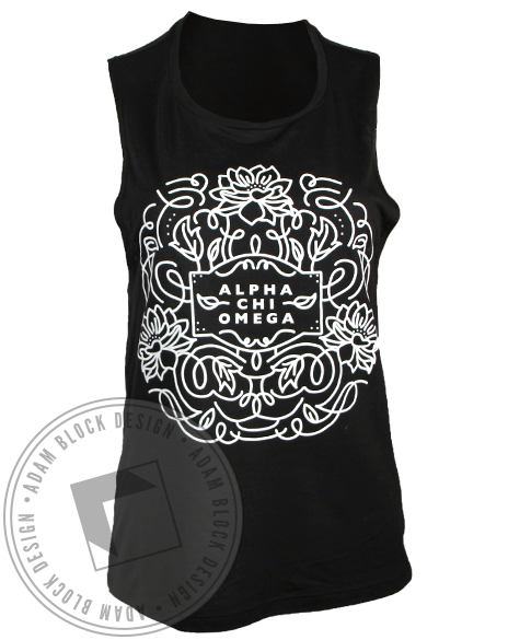 Alpha Chi Omega Flowers Tank Top-gallery-Adam Block Design