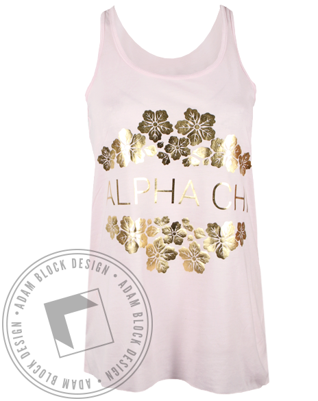 Alpha Chi Omega Gold Floral Tank Top-gallery-Adam Block Design