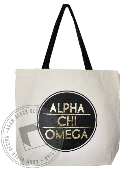 Alpha Chi Omega Gold Tote Bag-Adam Block Design