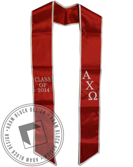 Alpha Chi Omega Graduation Stole-Adam Block Design