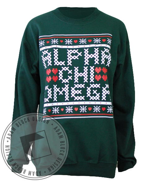 Alpha Chi Omega Holiday Crewneck-Adam Block Design