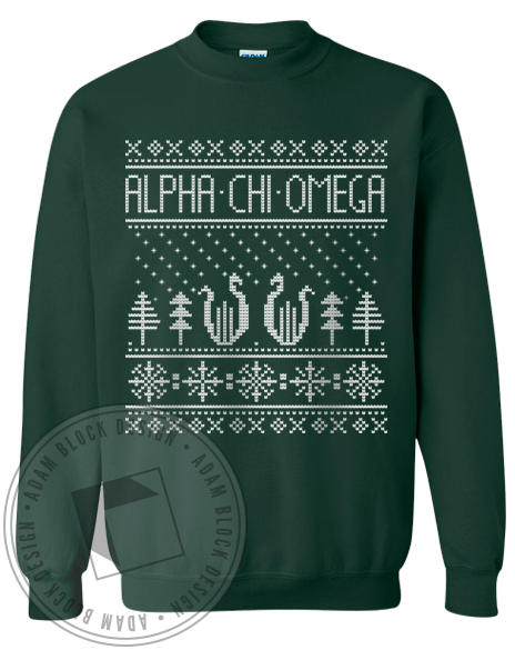 Alpha Chi Omega Holiday Sweatshirt-Adam Block Design