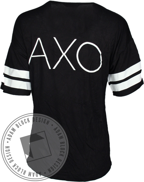 Alpha Chi Omega Love Striped Tee Shirt-Adam Block Design