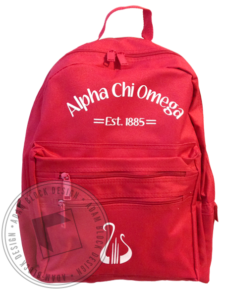 Alpha Chi Omega Lyre 1885 Backpack - Red-gallery-Adam Block Design