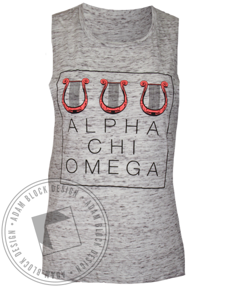 Alpha Chi Omega Lyre Muscle Tank Top-Adam Block Design