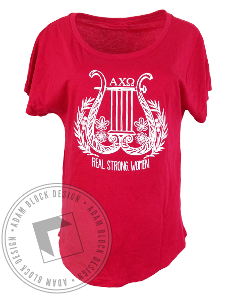 Alpha Chi Omega Lyre Real Strong Women Tee Shirt-gallery-Adam Block Design