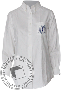 Alpha Chi Omega Monogram Button Up-Adam Block Design