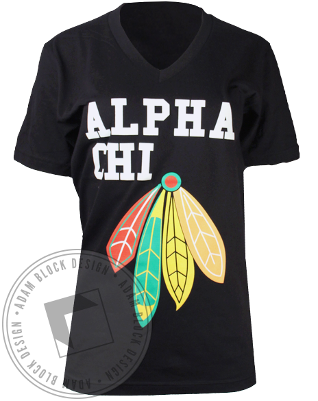 Alpha Chi Omega Native Feathers Tshirt-gallery-Adam Block Design