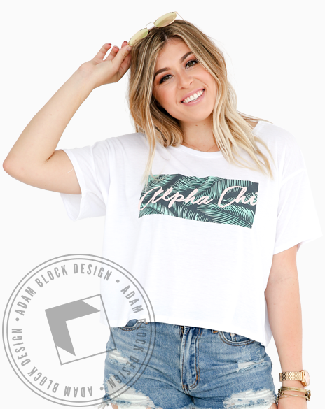 Alpha Chi Omega Palm Leaves Tee Shirt-gallery-Adam Block Design