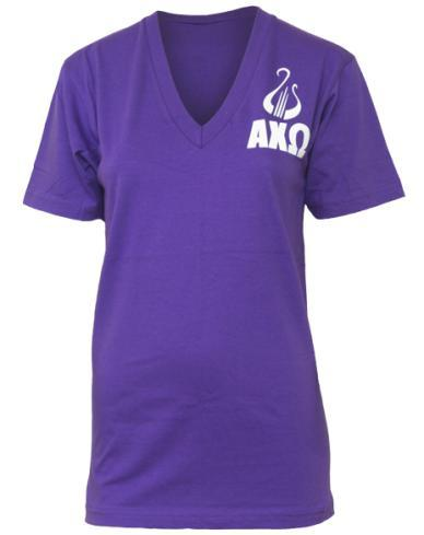 Alpha Chi Omega Purple Lyre V-neck-gallery-Adam Block Design