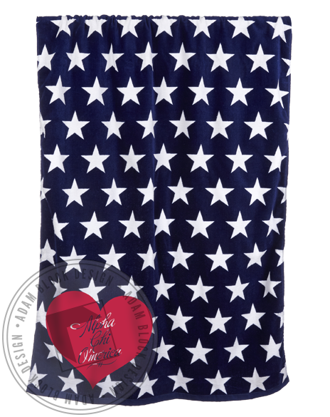 Alpha Chi Omega Stars And Hearts Beach Towel-gallery-Adam Block Design