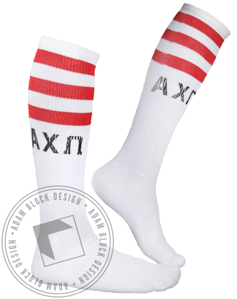 Alpha Chi Omega Striped Socks-Adam Block Design