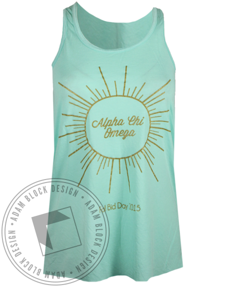 Alpha Chi Omega Sunburst Tank Top-gallery-Adam Block Design