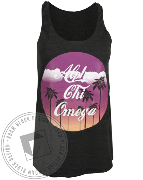 Alpha Chi Omega Sunset Palms Tank Top-gallery-Adam Block Design
