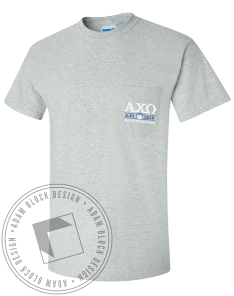 Alpha Chi Omega This Guy Pocket Tee Shirt-Adam Block Design