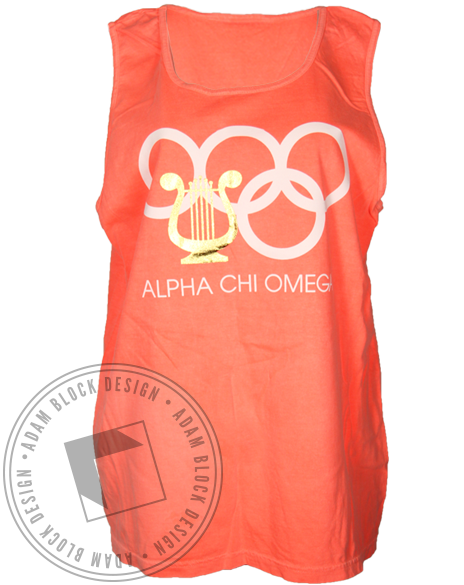 Alpha Chi Omega We Got the Gold Olympic Tank Top-Adam Block Design