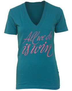 Alpha Chi Omega Win V-Neck-Adam Block Design