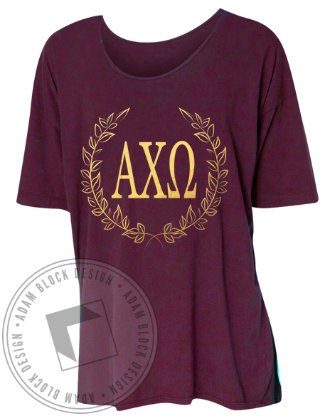 Alpha Chi Omega Wreath Tee Shirt-Adam Block Design