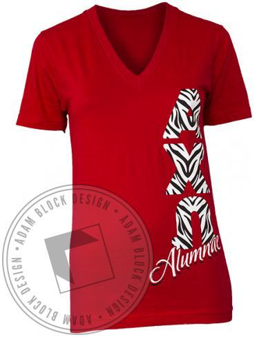 Alpha Chi Omega Zebra Print V-neck-Adam Block Design