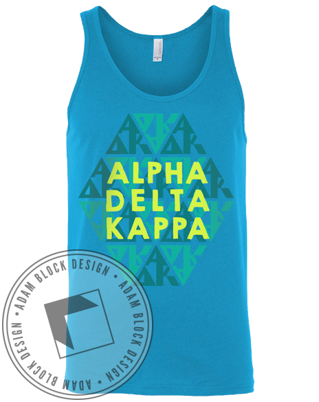 Alpha Delta Kappa Blue Hexagon Tank-gallery-Adam Block Design