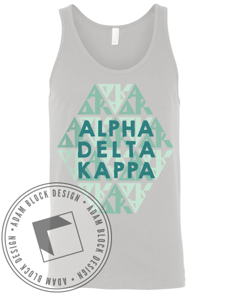 Alpha Delta Kappa Grey Hexagon Tank-gallery-Adam Block Design
