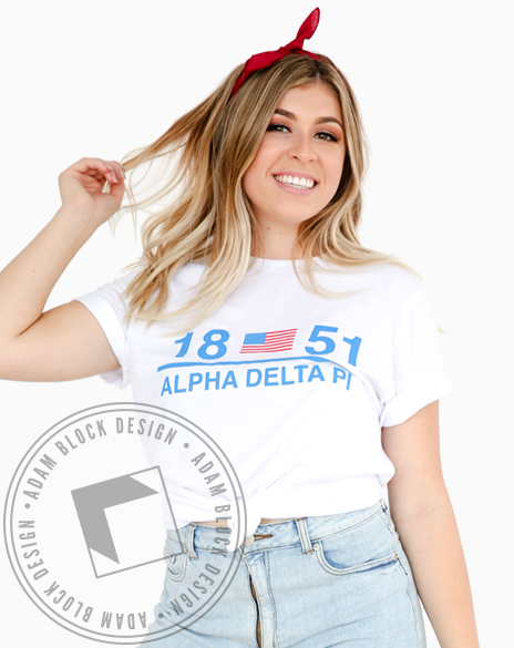 Alpha Delta Pi Americana T-shirt-Adam Block Design
