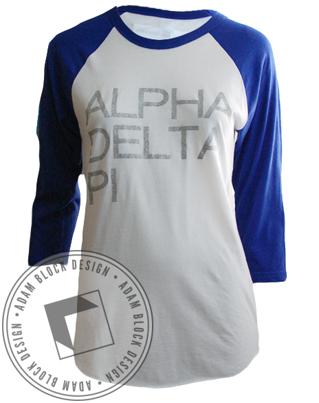 Alpha Delta Pi Baseball Tee Shirt-Adam Block Design