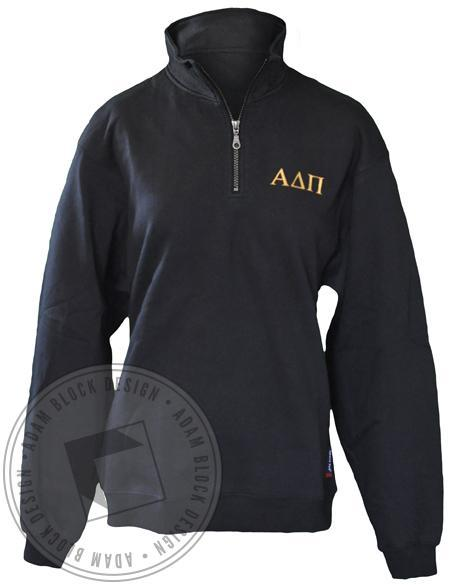 Alpha Delta Pi Black Crest Half-Zip-Adam Block Design