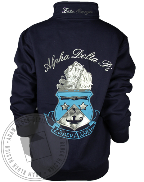 Alpha Delta Pi Crest Half-Zip-Adam Block Design