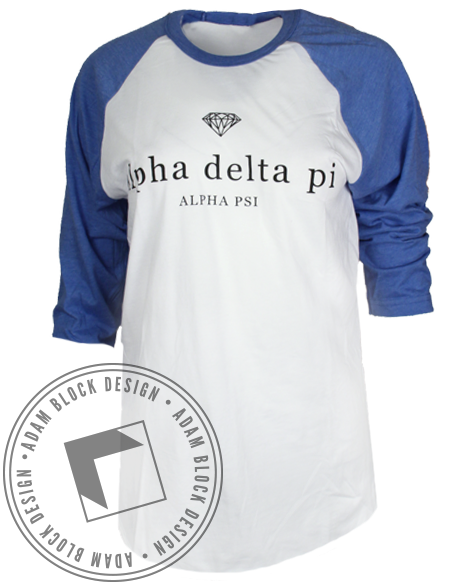 Alpha Delta Pi Diamond Baseball Tee Shirt-Adam Block Design