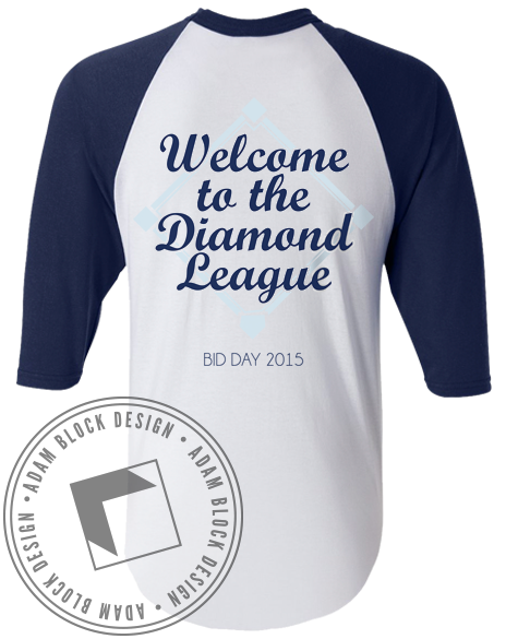 Alpha Delta Pi Diamond League Baeball Tee Shirt-Adam Block Design