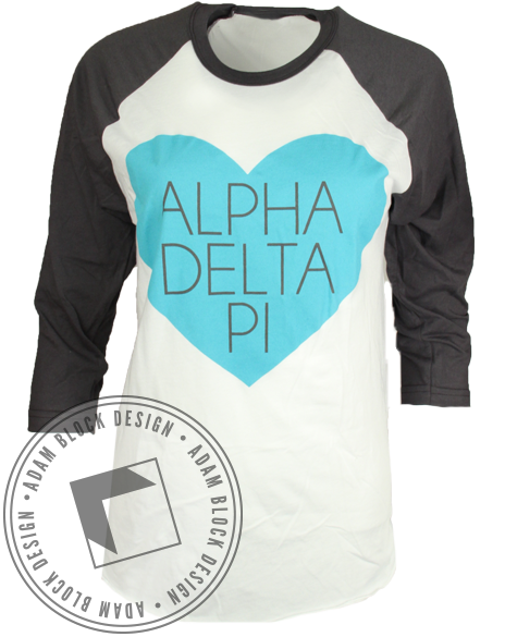 Alpha Delta Pi Diamond League Baseball Tee Shirt-Adam Block Design