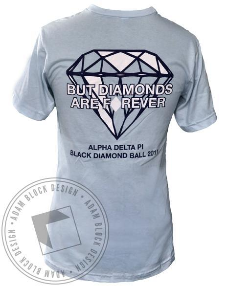 Alpha Delta Pi Diamonds Forever V-Neck-Adam Block Design