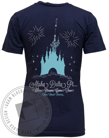 Alpha Delta Pi Dreams Come True V-neck-Adam Block Design