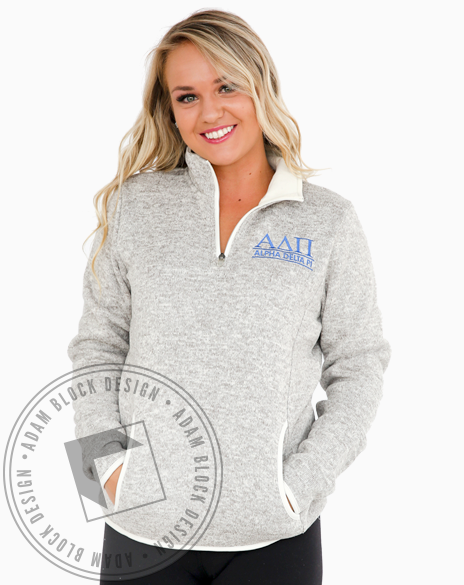 Alpha Delta Pi Embroidered Pullover Sweatshirt-gallery-Adam Block Design