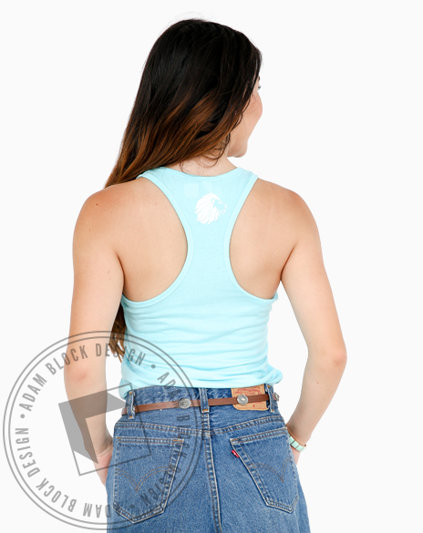 Alpha Delta Pi Floral Light Blue Tank Top-Adam Block Design
