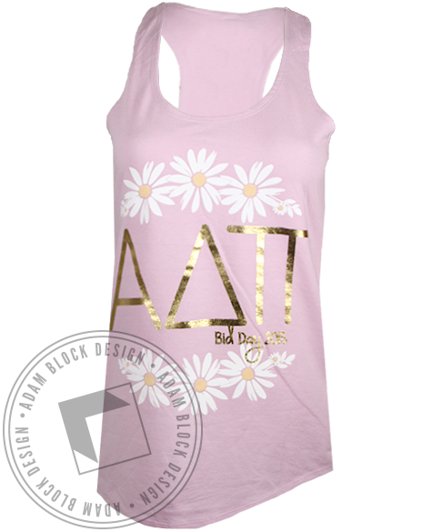 Alpha Delta Pi Gold Flowers Tank Top-Adam Block Design