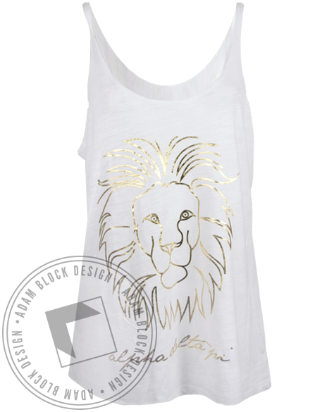 Alpha Delta Pi Gold Lion Tank Top-Adam Block Design