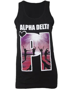 Alpha Delta Pi Heart Tank Top-Adam Block Design