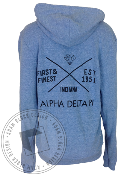 Alpha Delta Pi Indiana Bid Day Sweatshirt Hoody-Adam Block Design