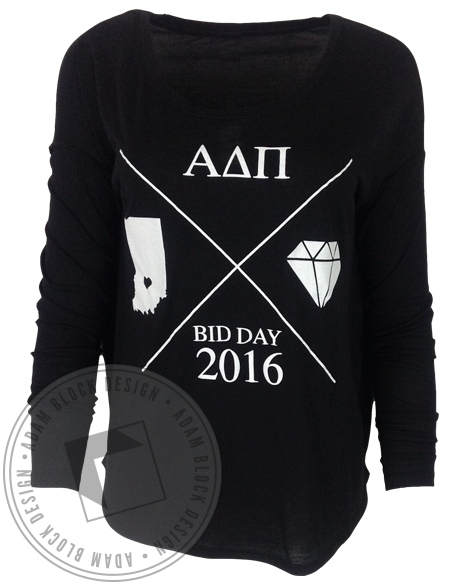 Alpha Delta Pi Indiana Bid Day Long Sleeve-Adam Block Design