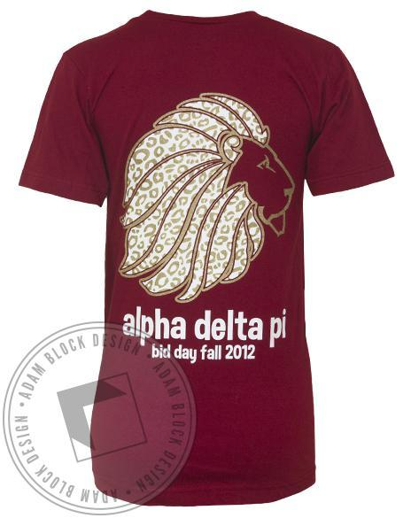 Alpha Delta Pi Lion V-Neck-Adam Block Design