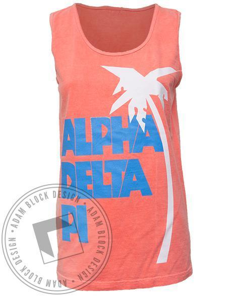 Alpha Delta Pi Palm Tree Tank Top-Adam Block Design