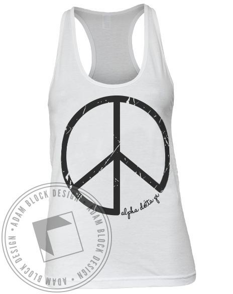 Alpha Delta Pi Peace Tank Top-Adam Block Design